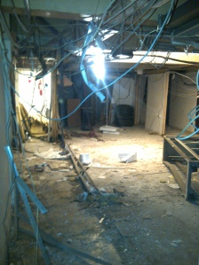 The bombed studio in Al Ikhbariya's new premises. Yara had to get permission for me to take this photo.