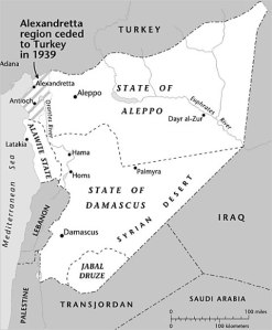 This 1920s French Administration map of Syria appeared in the New York Times in June 2011.