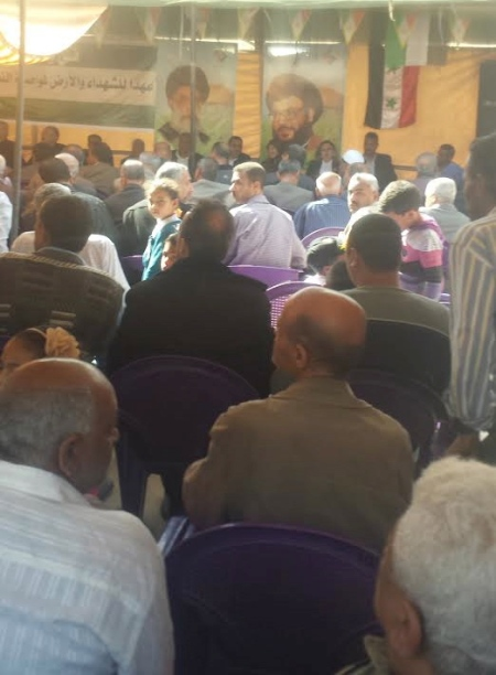 Jeramana residents attend a Yom al-Ard ceremony to honor teachers, sponsored by the Palestinian-Iranian Friendship Association.